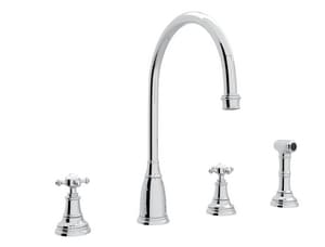 Rohl Perrin & Rowe® 4-Hole Column Spout Kitchen Faucet with Double Cross Handle RU4735X2