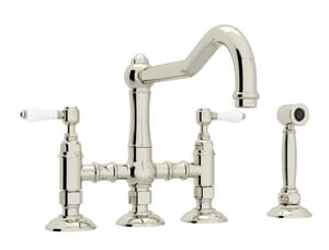 Rohl 3-Hole 3-Leg Bridge Kitchen Faucet with Sidespray and Double Lever Handle RA1458LPWS2