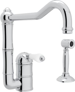 Rohl Country Kitchen 1-Hole Kitchen Faucet with Single Porcelain Lever Handle and Column Spout RA3608LP2