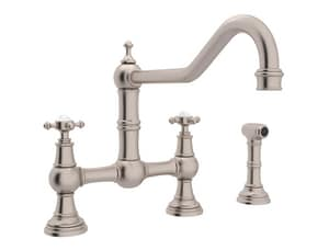 Rohl Perrin & Rowe® 3-Hole Bridge Faucet with Sidespray and Double Cross Handle RU4763X2