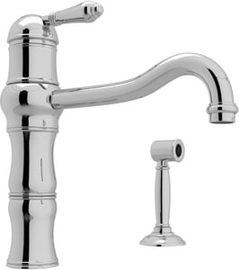 Rohl Country Kitchen 1-Hole Kitchen Faucet with Single Metal Lever Handle and Sidespray RA3479LMWS2