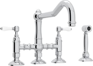 Rohl Italian Country Kitchen 4-Hole Bridge Kitchen Faucet with Double Porcelain Lever Handle and Sidespray RA1458LPWS2