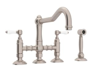 Rohl Country Kitchen 3-Hole 3-Leg Bridge Kitchen Faucet with Sidespray and Double Lever Handle RA1458LPWS2