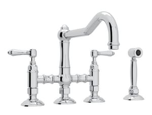 Rohl Perrin & Rowe® Country Kitchen Bridge Kitchen Faucet with Double Lever Handle RA1458LMWS2