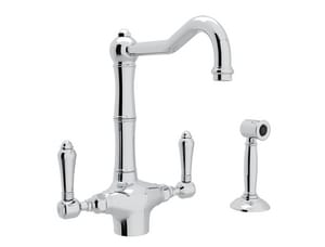 Rohl Country Kitchen 1.5 gpm Double Lever Handle Deckmount Kitchen Sink Faucet Column Spout IPS Connection RA1679LMWS2