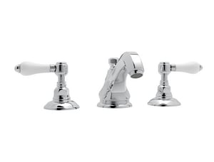 Rohl Hex 2-Hole Deckmount Widespread Lavatory Faucet with Double Porcelain Lever Handle RA1808LP2