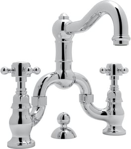 Rohl Acqui 2-Hole Deckmount Bridge Lavatory Faucet with Double Metal Cross Handle RA1419XM2