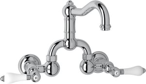Rohl Country Bath 2-Hole Wall Mount Bridge Lavatory Faucet with Double Porcelain Lever Handle and 3-7/6 in. Spout Height RA1418LP2