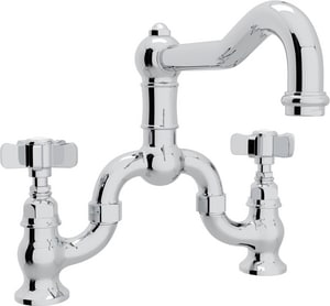 Rohl Italian Country Kitchen Bridge Kitchen Faucet with Double Five Spoke Handle RA1420X2