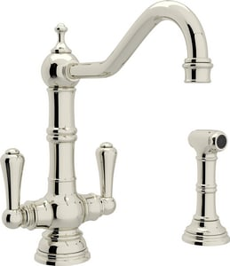 Rohl Perrin & Rowe® 2-Hole Mixer with Sidespray and Double Lever Handle RU47662