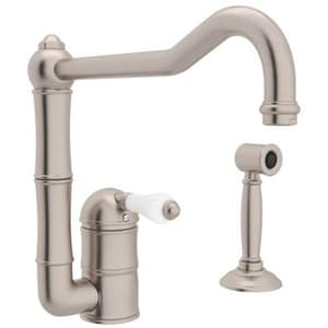 Rohl Italian Country Kitchen 1-Hole Kitchen Faucet with Single Porcelain Lever Handle, Sidespray and 11 in. Column Spout RA360811LPWS2