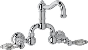 Rohl Country Bath 2-Hole Wall Mount Bridge Lavatory Faucet with Double Crystal Lever Handle and 3-7/6 in. Spout Height RA1418LC2
