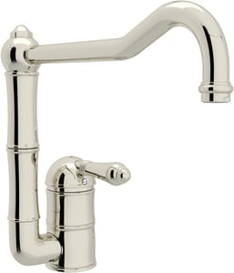Rohl Italian Country Kitchen 1-Hole Kitchen Faucet with Single Metal Lever Handle and 11 in. Column Spout RA360811LM2