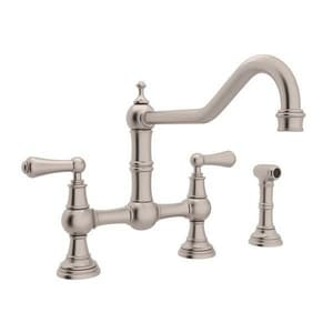 Rohl Perrin & Rowe® 1.8 gpm 8 in. 2-Handle Deck Mount Kitchen Sink Faucet Column Spout RU4764L