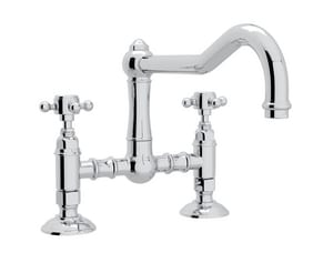Rohl Italian Country Kitchen 2-Hole Deckmount Bridge Kitchen Faucet with Double Cross Handle RA1459XM2