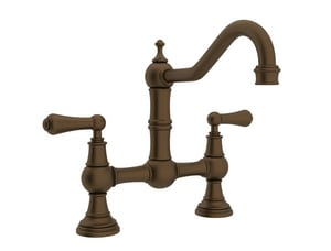 Rohl Perrin & Rowe® Double Lever Bridge Kitchen Faucet with Swivel Spout RU4751L