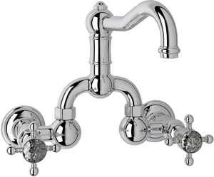 Rohl Country Bath 2-Hole Wall Mount Bridge Lavatory Faucet with Double Crystal Cross Handle and 3-7/6 in. Spout Height RA1418XC2