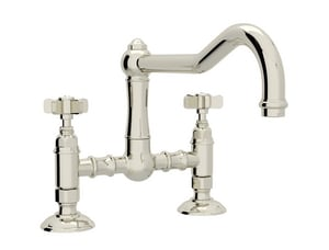 Rohl Country Kitchen 2-Hole Bridge Kitchen Faucet with Five Spoke Handle RA1459X2