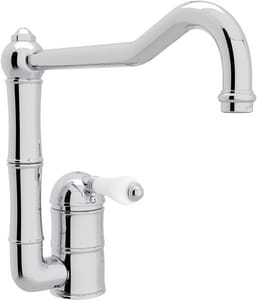 Rohl Italian Country Kitchen 1-Hole Kitchen Faucet with Single Porcelain Lever Handle and 11 in. Column Spout RA360811LP2