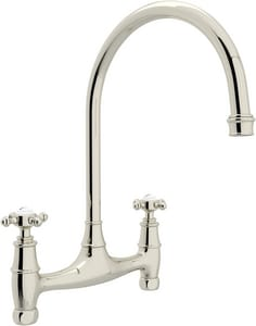 Rohl Perrin & Rowe® 2-Hole Double Cross Handle Bridge Kitchen Faucet RU4790X2