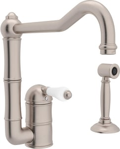 Rohl Perrin & Rowe® Country Kitchen 2-Hole Column Spout Faucet with Sidespray and Single Lever Handle RA3608LPWS2
