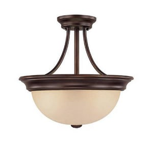 Capital Lighting Fixture 19 in. 13 W 2-Light Semi-Flush Mount Ceiling Fixtures in Burnished Bronze C2749BB