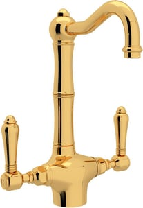 Rohl Country Kitchen 8-37/64 in. 1-Hole Deck Mount Bar Faucet with Metal Double Lever Handle RA1680LM2