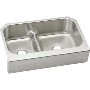 Elkay Gourmet 17 in. 2-Bowl Stainless Steel Undermount Kitchen Sink EEAQDUHF3523L