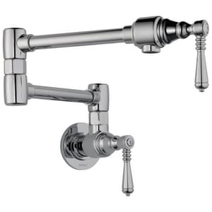 Delta Faucet Traditional® 1-Hole Wall Mount Pot Filler with Double Lever Handle D62810LF