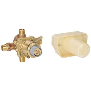 Grohe Grohtherm® 1/2 in. Concealed Thermostatic Rough-In Valve NPT with Service Stops in Starlight Chrome G34331000