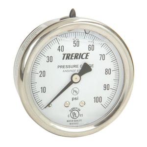 H.O. Trerice D80 Series 2.5 in. 0-100 psi Dial Pressure Gauge TD82B2502BA110