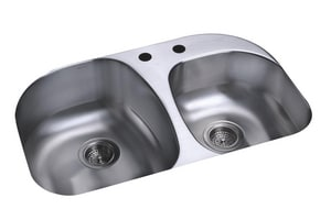 Sterling Plumbing Group Cinch™ 18 ga 2-Bowl Undermount Kitchen Sink with Rear Center Drain S11723NA
