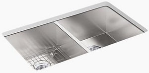 Kohler Vault™ 33 x 22 in. Top Mount/Under-Mount Double-Equal Bowl Stainless Steel Kitchen Sink K3820