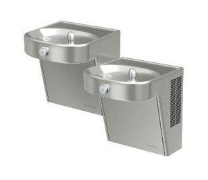 Halsey Taylor Vandal-Resistant Bi-Level ADA Water Cooler in Stainless Steel HHVR8HDBL14GVRCLR
