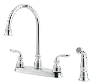 Pfister Avalon 4-Hole Kitchen Faucet with Double Lever Handle and Side Spray PF0364CB