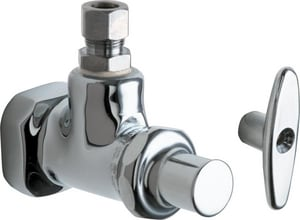 Chicago Faucet 3/8 in. FNPT x OD Compression Angle Supply Stop Fitting with Loose Key C1012ABCP