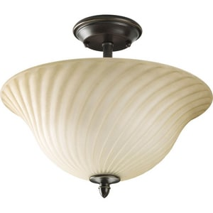 Progress Lighting Kensington 100W 2-Light Medium E-26 Incandescent Semi-Flush Ceiling Light in Forged Bronze PP382977