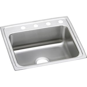 Elkay Gourmet Lustertone® 1-Bowl Stainless Steel Topmount Kitchen Sink with Rear Center Drain ELRAD252165