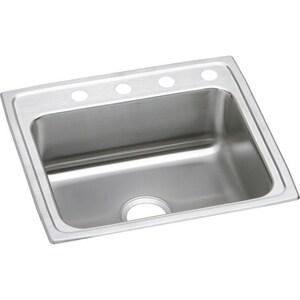 Elkay Lustertone® 4-Hole 1-Bowl Topmount Kitchen Sink with Rear Center Drain ELRAD2521654