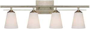 Capital Lighting Fixture Soho 10 in. 100W 4-Light Vanity Fixture in Winter Gold with Soft White Glass Shade C1739WG122