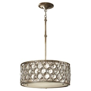 Murray Feiss Industries Lucia 60 W 3-Light Medium Pendant in Burnished Silver MF25683BUS