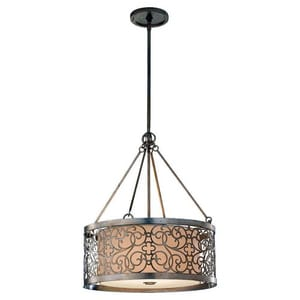 Murray Feiss Industries Arabesque 100 W 4-Light Medium Pendant in Silver Leaf Patina MF25374SLP
