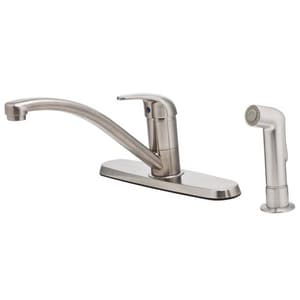 Pfister 4-Hole Standard Kitchen Faucet with Single Lever Handle and Side Spray PG134700