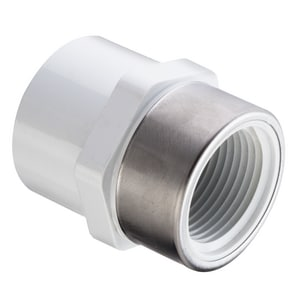 Spears Socket x SR FIPT Straight Schedule 40 PVC Adapter with Stainless Steel Thread S435SR