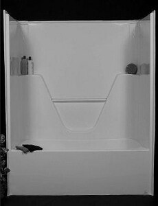 Bathcraft 60 x 35 1/2 in. Tub and Shower with Right Hand Drain in White BA6075RWH