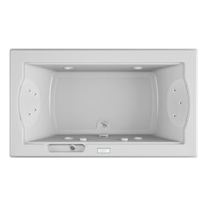 Jacuzzi Fuzion® 72 x 42 in. 11-Jet Acrylic Rectangle Drop-In or Undermount Whirlpool Bathtub with Center Drain and J4 Luxury Control JFUZ7242WCR4CH