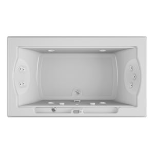 Jacuzzi Fuzion® 72 x 42 in. 11-Jet Acrylic Rectangle Drop-In or Undermount Whirlpool Bathtub with Center Drain and J5 LCD Control JFUZ7242WCR5CW