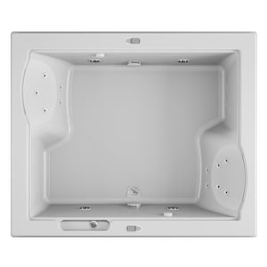 Jacuzzi Fuzion® 71-3/4 x 59-3/4 in. 23-Jet Acrylic Rectangle Drop-In or Undermount Whirlpool Bathtub with Center Drain and J5 LCD Control JFUZ7260WCD5IH