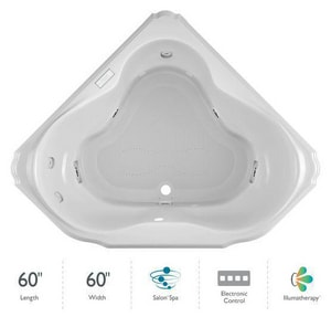 Jacuzzi Bellavista™ 59-3/4 x 59-3/4 in. 10-Jet Acrylic Corner Drop-In Spa Combination Bathtub with Center Drain and J4 Luxury Control JBEL6060CCR4IH