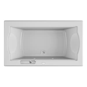 Jacuzzi Fuzion® 72 x 42 in. Acrylic Rectangle Drop-In or Undermount Bathtub with Center Drain and J2 Basic Control JFUZ7242BCX2CX